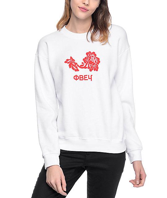Obey Flower Delancey White Womens Crew Neck Sweatshirt | Zumi