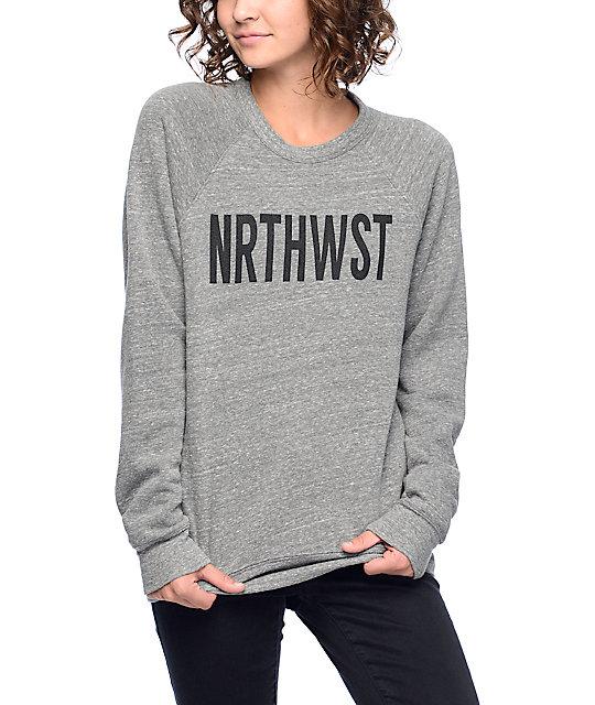 Wish You Were Northwest Heather Grey Crew Neck Sweatshirt | Zumi