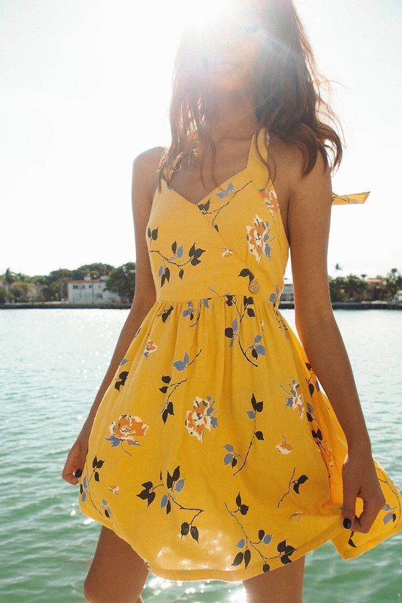Criss Cross Back Tiered Dress | Summer dresses, Fashion, Yellow .