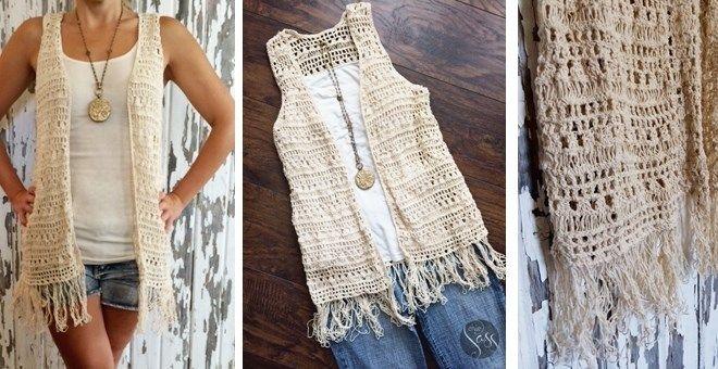 Boho Crochet Fringe Vest | Crochet vest pattern, Crochet vest .