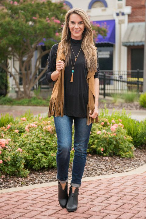 A Little Help From My Fringe Vest, Brown - The Mint Julep Boutique .