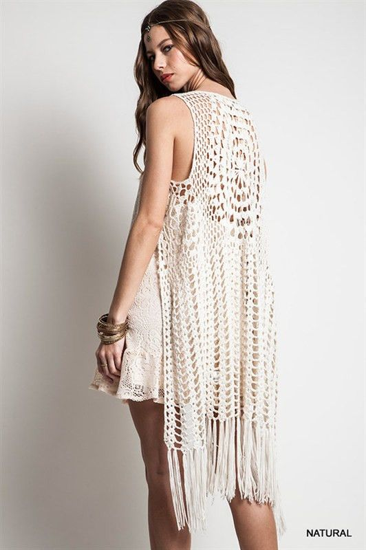 The Urban Hippie - sleeveless long Crochet Fringed Vest | Crochet .