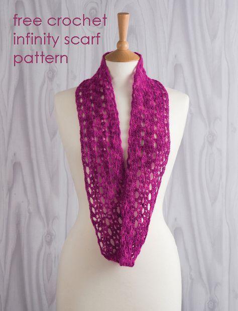 Free Crochet Infinity Scarf Pattern | Crochet lace scarf, Crochet .