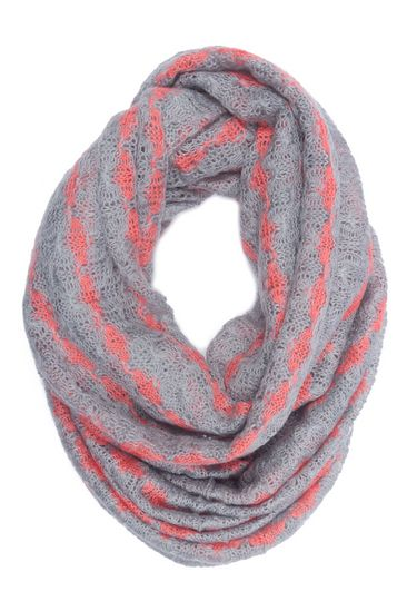 gray and coral infinity scarf | Crochet infinity scarf, Infinity .