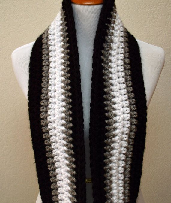 Black, Gray and White Striped Infinity Scarf, Crochet Infinity .