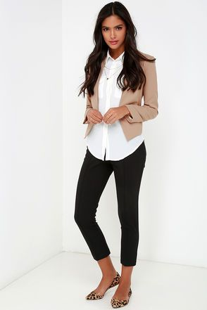 Business Trip Tan Cropped Blazer at Lulus.com! | Comfy work outfit .