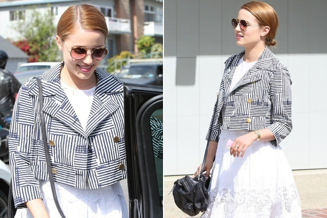 Obsessed: Dianna Agron's Cute Cropped Jacket - Outfit Ideas - Living
