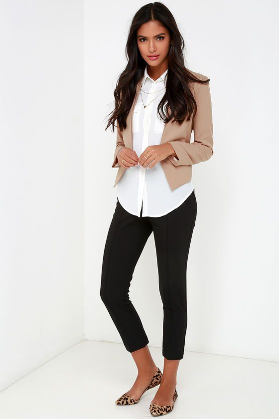 Business Trip Tan Cropped Blazer | Comfy work outf