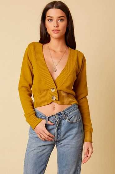 Find the Be There Mustard Cropped Cardigan Sweater at Bohopink.com .