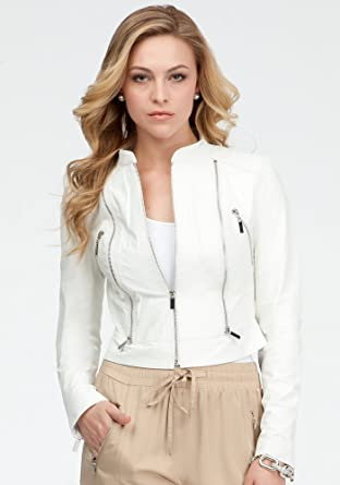 bebe Cali Cropped Leather Jacket Total Outerwear White-xs at .