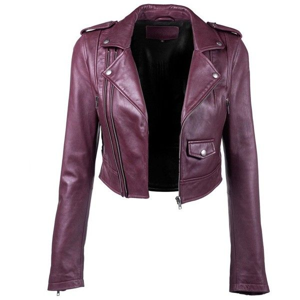Crop Leather Jacket ($545) ❤ liked on Polyvore featuring .