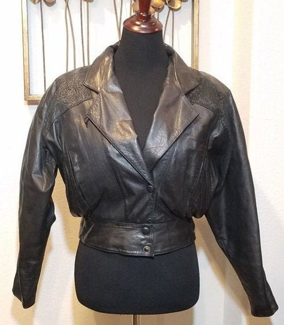 Byrnes & Baker Leather Jacket Vintage Cropped Leather Coat | Et