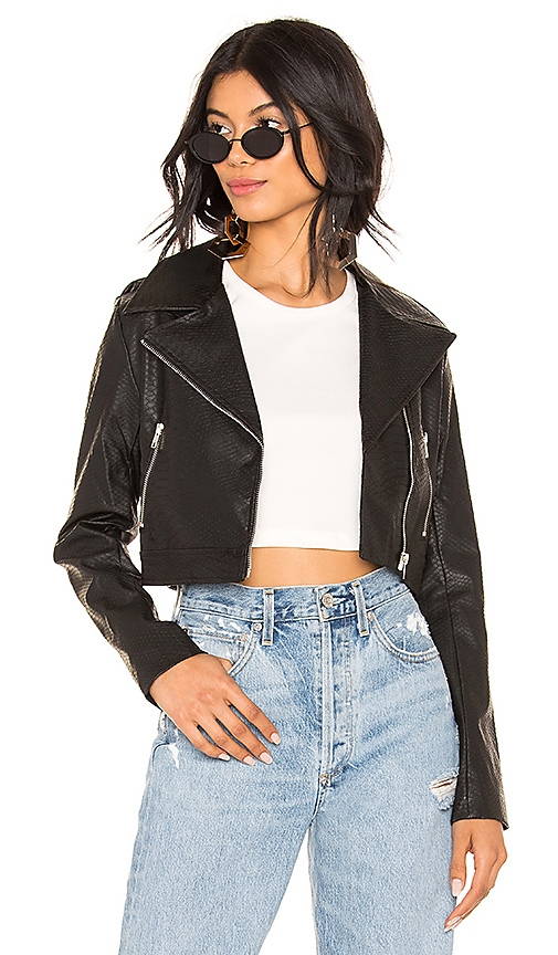 by the way. Kenny Faux Leather Cropped Moto Jacket in Black | REVOL