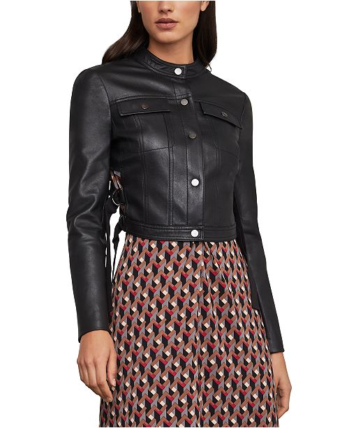 BCBGMAXAZRIA Pleated Cropped Faux-Leather Jacket & Reviews .