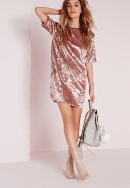 Oversized Crushed Velvet T-Shirt Dress Pink | Velvet fashion .