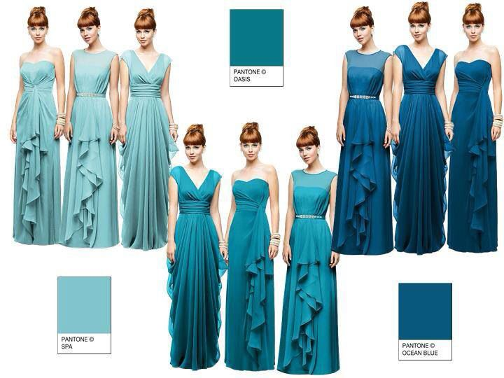 Light to dark teal dresses | Teal bridesmaid dresses, Dark teal .