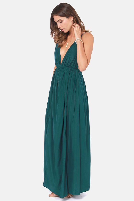 Titania's Woods Backless Dark Teal Maxi Dress | Dark teal .