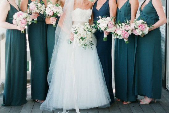Teal bridesmaids dresses perfect with pink bouquets! Wedding Ideas .