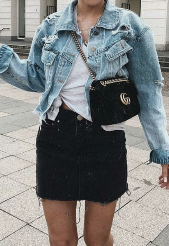 denim levis jacket + gucci mazmont crossbody bag + white knotted .