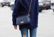 Navy Blue & Denim Winter Outfit Ideas : Street Style .