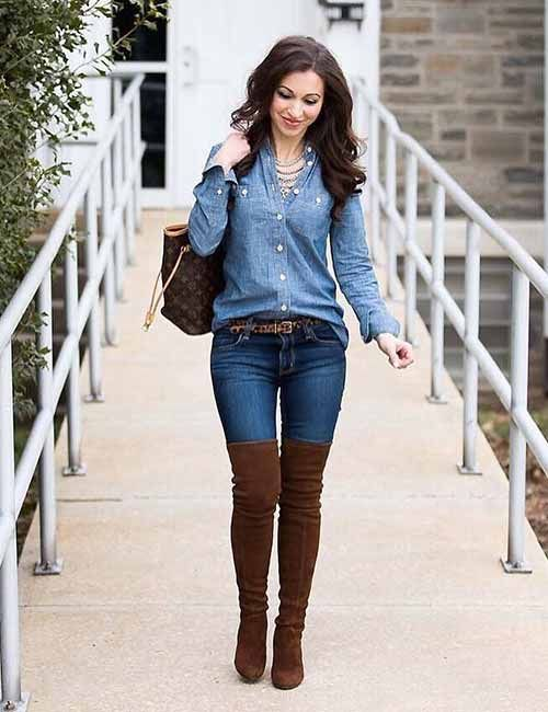 19 Cute Denim Shirt Outfit Ideas | Winter fashion outfits, Outfits .