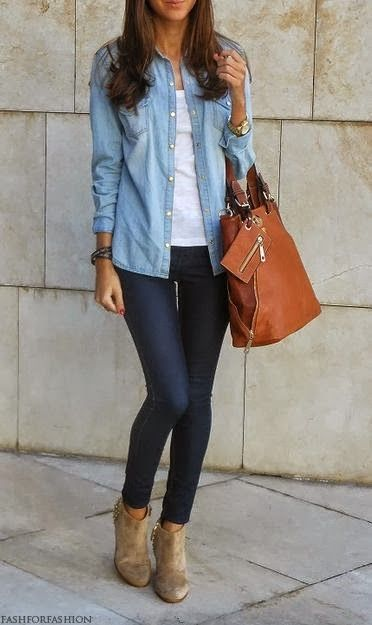Casual Outfit With Skinny Jeans and Brown Handbag find more women .
