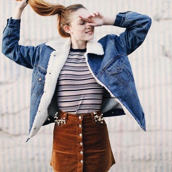 Outerwear - PEQ.CO   Fur lined denim jacket, Denim jacket with f