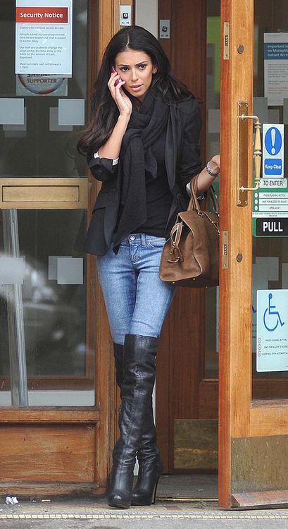 black boots in jeans (thigh high boots outfit winter) | Fashion .