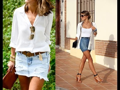 denim mini skirt outfit ideas - YouTu