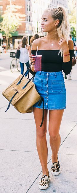 summer style. denim mini skirt. animal print flats. More .