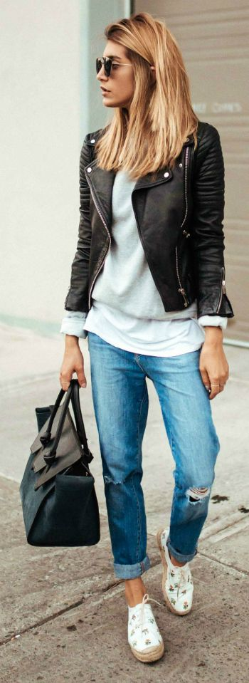 289 Best leather jacket outfits/moto images | Outfits, Autumn .