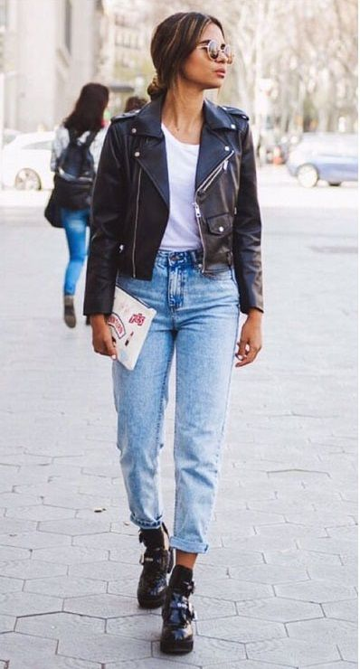 Easy Straight Leg High Waist Jeans + Leather Jacket | Straight leg .