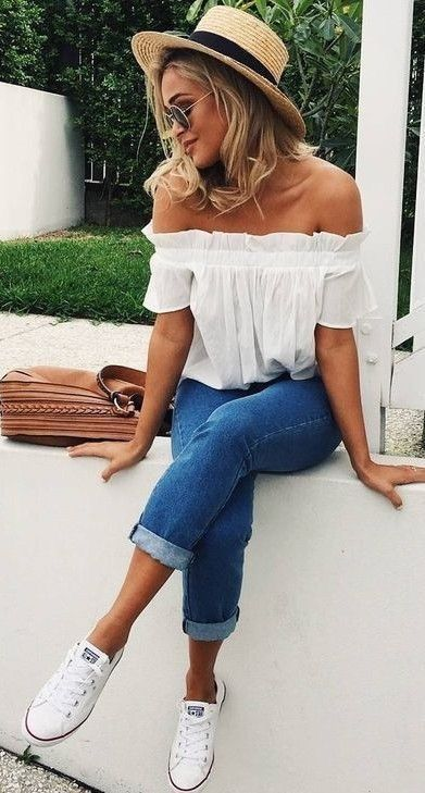 Off the shoulder top. | Fashion, Summer outfits, Popular outfi