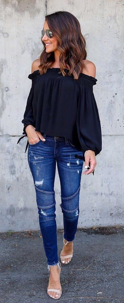 summer #outfits Black Off The Shoulder Top + Ripped Skinny Jeans .
