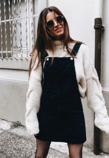 Sweater + overall dress. | Overall skirt, Fashion, Denim fashi
