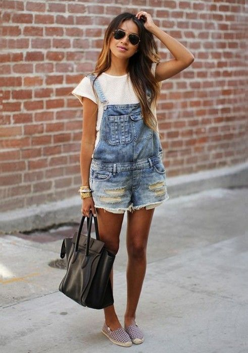 How to wear Overalls http://Glamsugar.com Denim Overall Shorts .