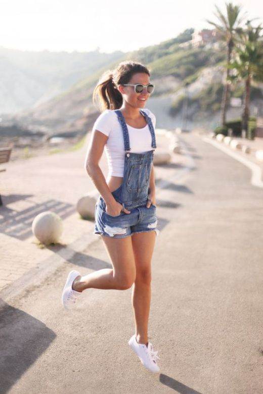 16 Casual Chic Outfit Ideas for Summer: #4. Denim Rompers Outfit .