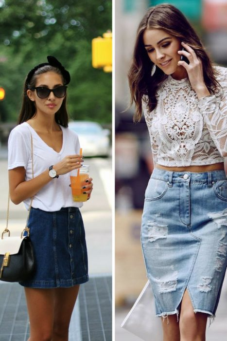 Amazing Denim Skirts Outfit Ideas 2020 - OnlyWardrobe.c