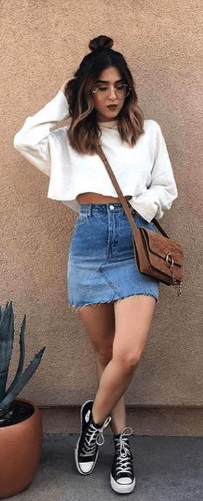 50 Hottest Denim Skirt Outfits Ideas - 50FASHIONHOL