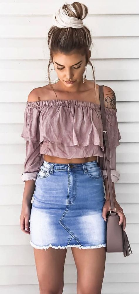Cute Denim Skirt Outfit Ideas on Stylevo
