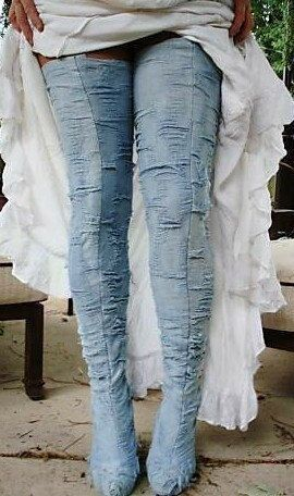 denim thigh high boots for Awel
