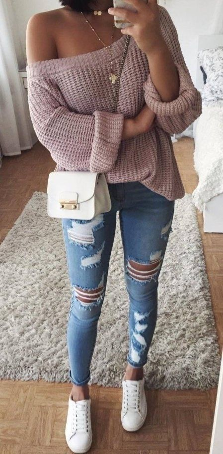 Fashion Trends One Shoulder Knit Sweater Plus Sneakers Plus Ripped .