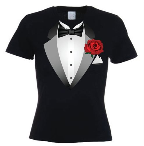 This black women's tuxedo t-shirt would be good as part of a .