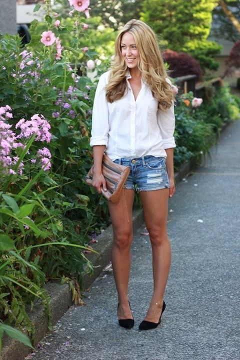 Jean shorts and heels (With images) | Bbq outfits, Short outfits .