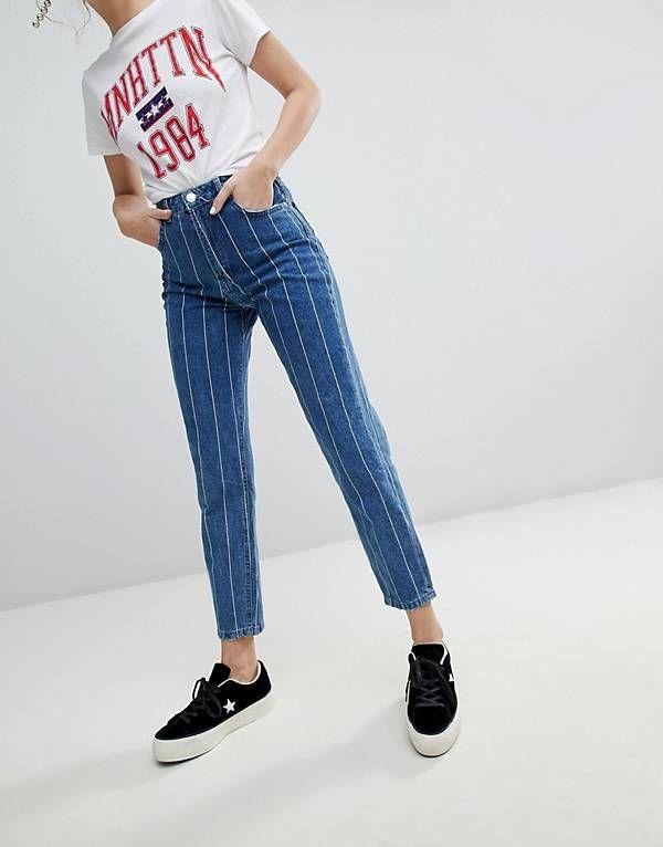 Stradivarius Stripe Mom Jean | Mom jeans outfit, Striped jeans .