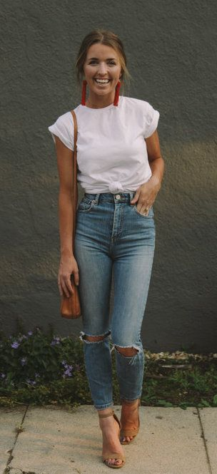 fall #outfits women's white crew-neck t-shirt and distressed blue .