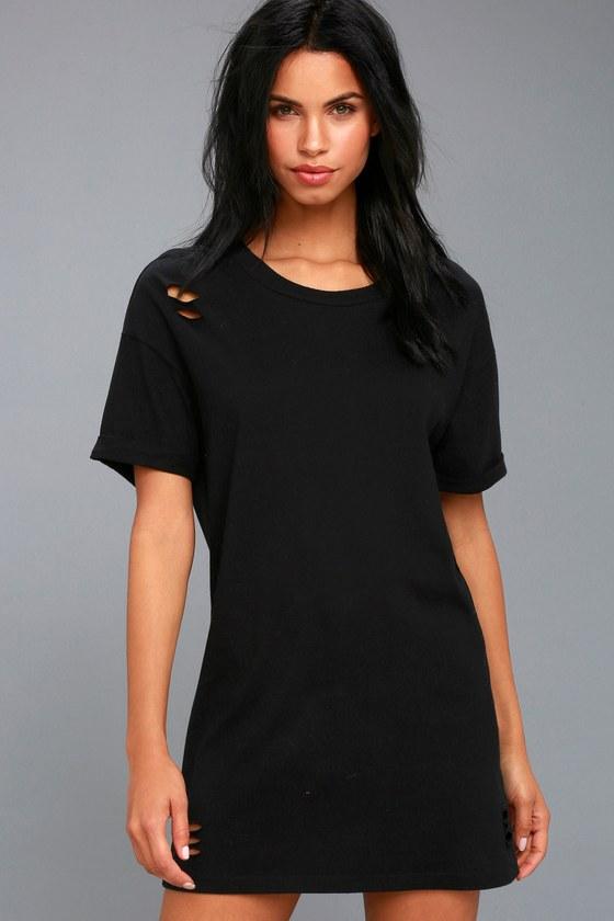 Trendy T Shirt Dress Black Distressed Denim Present 11 - fantastic .