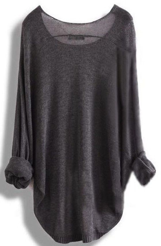 Grey Plain Round Neck Dolman Sleeve Loose Fashion Pullover Sweater .