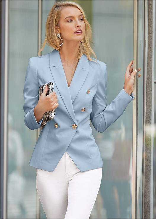 Double Breasted Blazer in Light Blue | VEN