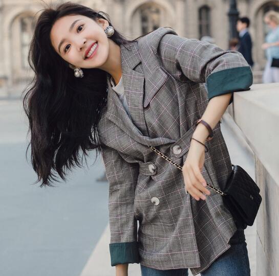 Ol Autumn Plaid Blazer Women Jacket Fashion Casual Long Sleeve Doub